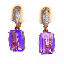 Серьги с аметистом и бриллиантами