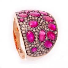 Кольцо с рубинами и бриллиантами