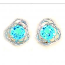 Серьги с голубым топазом