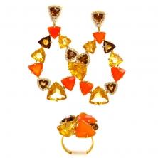 Серьги и Кольцо с  оранжевыми халцедонами