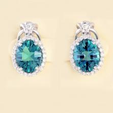 Серьги с лондонским топазом и бриллиантами