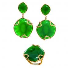 Серьги и Кольцо с зелёным агатом