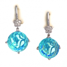 Серьги с  голубым топазом и бриллиантами